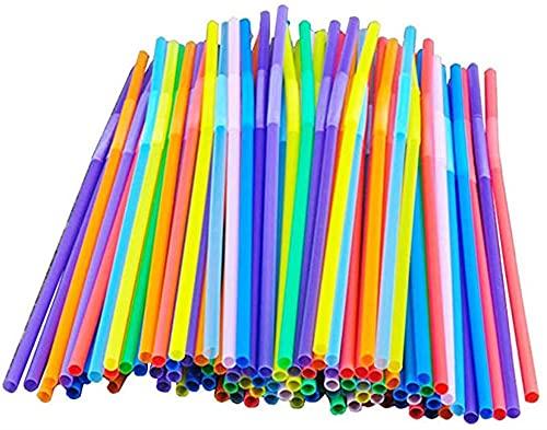 EOINSHOP 100/200/300/500 Pieza De Bebida Paja De Plástico Paja De Plástico Colorida Paja Bent Flexible Bent Plastic Medias para El Hogar, Bar, Partys Té (Color : 200 Stück)