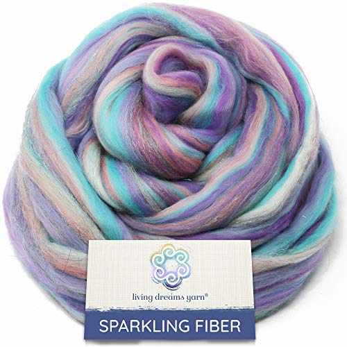 SPARKLE, GLITZ and GLAM: Colorful Merino with Shimmering Stellina Highlights. Super Soft Fiber for Spinning, Felting and Blending. Sparkling Unicorn