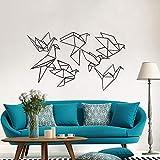 Calcomanías geométricas de Origami para pared de pájaros decoración artística para guardería pájaros voladores pegatina de vinilo para dormitorio para decorar la sala de estar