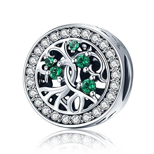 Ciondolo a forma di albero della vita, con zirconia cubica verde, in argento 925, Tessuto, Stile 1