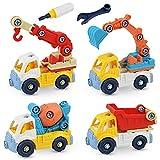 4 Piezas Vehículos de Construcción - Sirecal Coche de Juguete Friccion Camion de Juguete de Plástico Regalo de los Niños (Excavador, Camión de la Basura, Grua, Camión Mezclador)