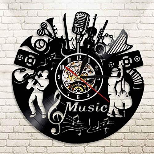 Banda musical Silueta Instrumentos musicales Decoración de pared Músicos Reloj de pared Jazz Music Grupo Vintage Vinilo Record Music Reloj de pared
