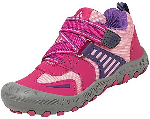 Mishansha Mädchen Trekking Wanderschuhe für Kinder Atmungsaktiv Wanderschuhe Sneaker Outdoor Kinderschuhe Schnellverschlüsse Rot 31 EU