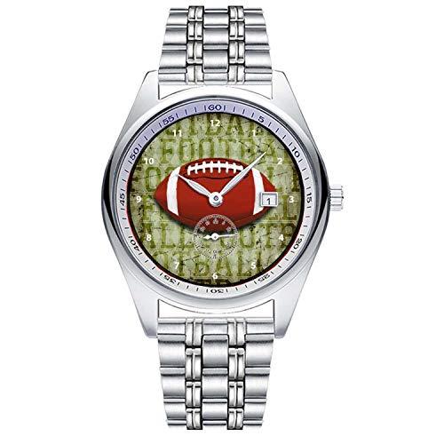 メンズ ビジネス アナログ クォーツ 腕時計 Funky Green Grunge Football デザイン 独立した秒針の文字盤 カレンダー 腕時計