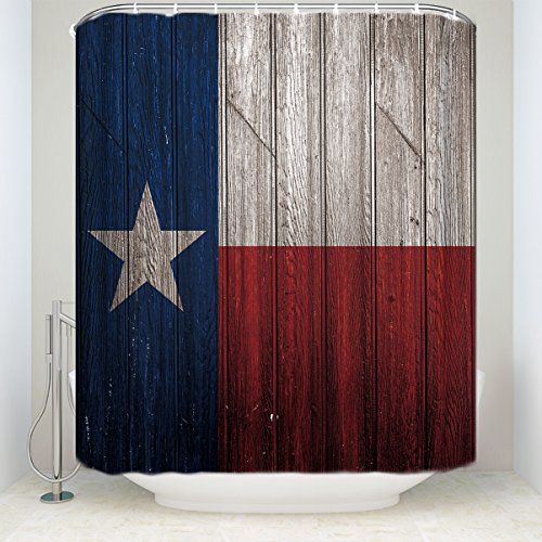 Prime Leader Vintage Shower Curtain, Texas Flag Painting on Retro Vintage Wooden Background Vertical Timber Print, Waterproof Fabric Bathroom Accessories, 72 x 72 Inches