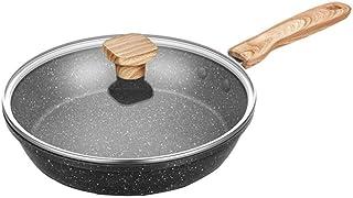 ZLDGYG Wok - Panier à friture et support à vapeur, Poêle à wok en cuivre antiadhésif avec couvercle, Wok en céramique avec...