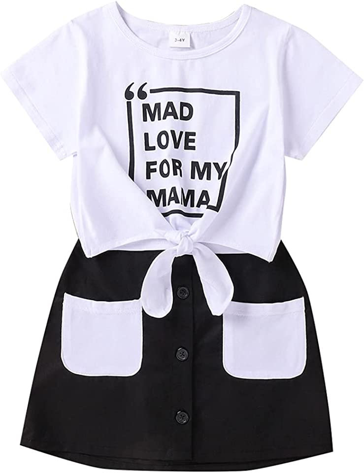 Kleinkind Baby Mädchen Kleidung Kurzarm Brief Druck T-Shirt Tops Buttons Tasche Minirock 2Pcs Sommer Outfits