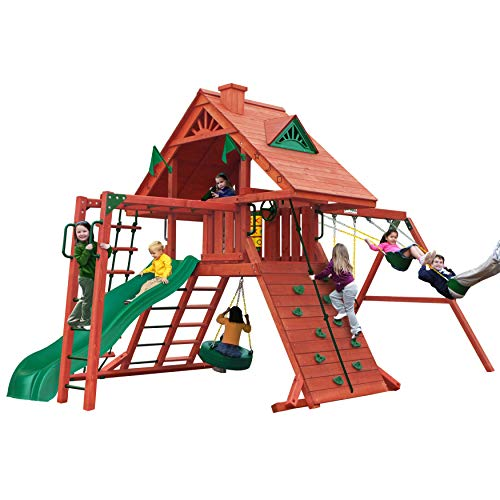 Gorilla Playsets 01-0013 Sun Palace II Wood Swing Set with Monkey Bars and Wood Roof, Amber