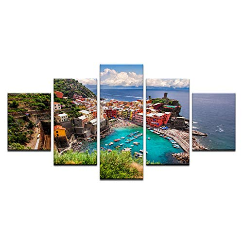 HIOJDWA Paintings 5 Piece Canvas Art Cinque Terre Italy Poster Natural Seascape Canvas Painting Home Living Room Decor Wall Artworks Drop Shipping