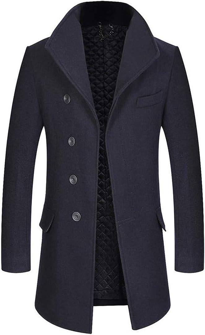 Zichhing Wool Blend Coats Men Wild Solid Trench Coat Long Section Thick Wool Overcoat