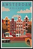 York, Países Bajos, Amsterdam, Londres, Vintage, Viaje, Ciudad, Paisaje, Póster, Lienzo, Pintura, Impresión En Lienzo, Imágenes 50X70Cm Sg-4432