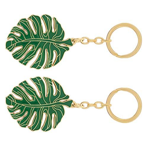 Amosfun 2 llaveros de hoja tropical de aleación con hojas huecas, estilo llavero, bolso decorativo para cartera, mochila, hoja, colgante