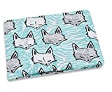 AMZBSR Muslin Swaddle Blankets Bamboo Cotton Soft Muslin Cloths for Baby Large Size Muslin Squares Newborn Gifts-Blue Fox