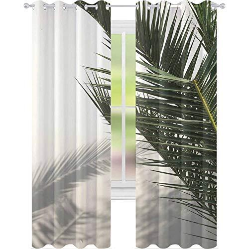 YUAZHOQI - Cortina opaca térmica con sombra de palmas en pared blanca Mallorca, Islas Baleares, España, 132 x 274 cm, cortinas opacas para dormitorio