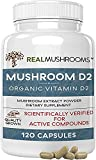 Mushroom-Based Vitamin D2 Supplement (120 Caps) Vitamin D Vegan Supplement 1000IU | Adult Vitamins Supplements, D2 Mushroom Supplement Softgels, Vegan Vitamins