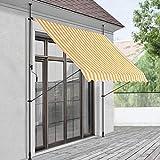 Toldo articulado con armazón 200 x 120 x 200-300 cm Toldo Enrollable terraza balcón Protector de Sol Parasol Amarillo y Blanco