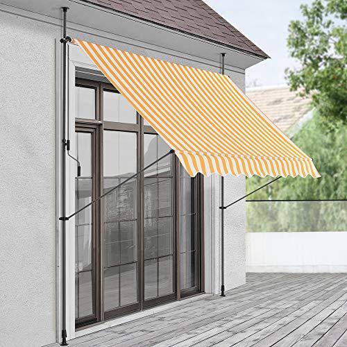 pro.tec Klemmmarkise 350 x 120 x 200-300cm Markise Balkonmarkise Sonnenschutz ohne Bohren Gelb/Weiß Gestreift