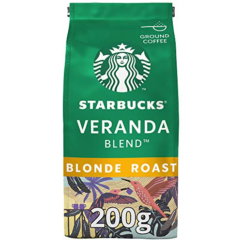 Starbucks Veranda Blend Kaffee, Blonde Roast, Röstkaffee, Mild mit Kakao-Noten, Gemahlen, 200 g
