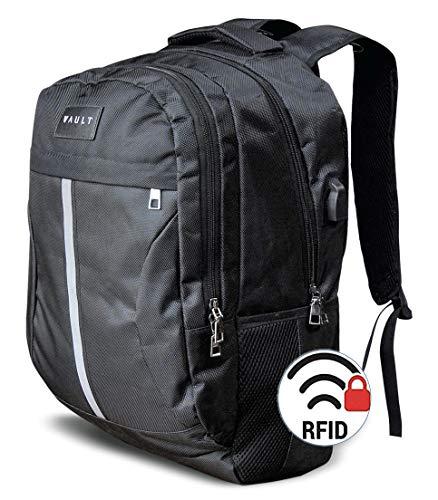 15.6-17.3 Inch Laptop Rugzak van VAULT® | Business Work College School & Reistas met USB Oplaadpoort | Anti-Diefstal RFID | Waterbestendig | Topkwaliteit Backpack | Nieuw voor 2020