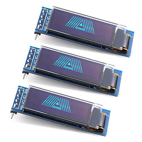 WayinTop 3PCS 0.91 inch OLED Display Module IIC SSD1306 128x32 OLED Screen Driver DC 3.3V~5V for Arduino ESP32 ESP8266 AVR PIC STM32 Raspberry pi (Blue)