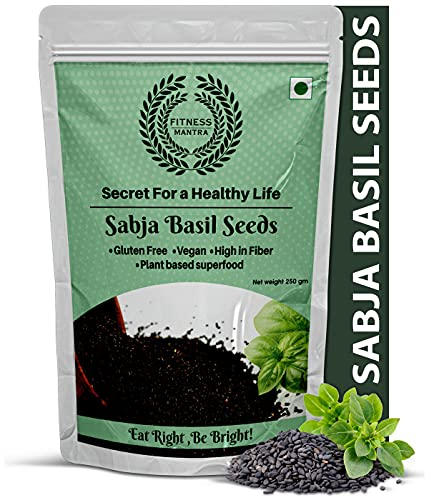 Fitness Mantra Raw Basil Seeds for Weight Loss (250 gm)   Natural Organic Sabja Seeds Helps in Stress Reliever, Regulating Blood...