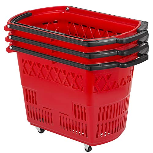 Mophorn 3PCS Shopping Carts, Red Shopping Baskets with Handles, Plastic Rolling Shopping Basket with Wheels, Portable Shopping Basket Set for Retail Store