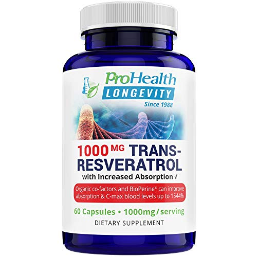 ProHealth Longevity 1000 mg Trans Resveratrol Plus 420 mg Organic Polyphenol Complex That Improves Absorption up to 1544%