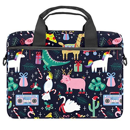 Cartoon Happy Christmas Animals Pattern Laptop Case Canvas Pattern Briefcase Sleeve Laptop Shoulder Messenger Bag Case Sleeve for 13.4-14.5 inch Apple MacBook Laptop Briefcase