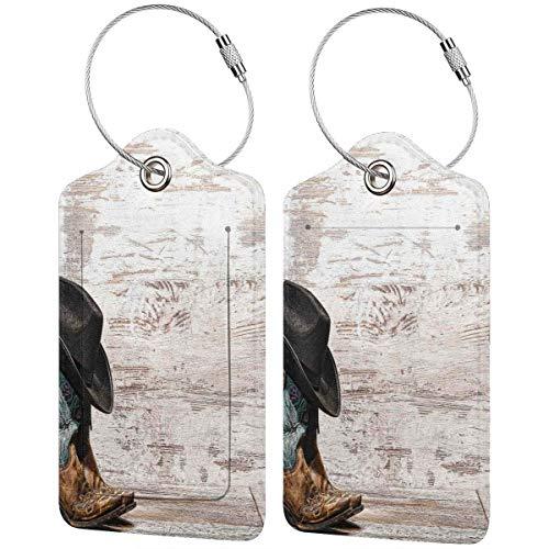VORMOR Gepäckanhänger Kofferanhänger mit Adressschild,Traditioneller Rodeo-Cowboyhut und Cowgirl-Stiefel in Einer Retro-Grunge-Hintergrundkunst,Kofferanhänger zur Identifizierung von Tasche,(2 Stück)