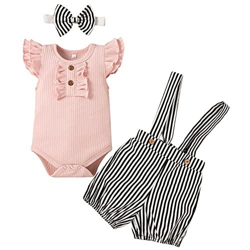 Ropa de Bebé Niñas Conjuntos de Algodón de Verano Tops de Manga Corta con Pantalones Cortos de Rayas Diadema