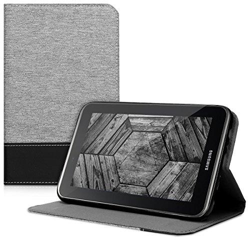 kwmobile Hülle kompatibel mit Samsung Galaxy Tab 2 7.0 P3110 / P3100 - Slim Tablet Cover Hülle Schutzhülle mit Ständer Grau Schwarz