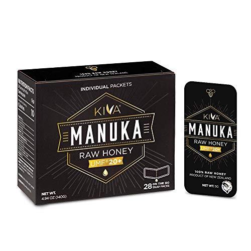 Kiva Raw Manuka Honey SNAP-Packets, Certified UMF 20+ | 100% Pure Genuine New Zealand (Snap Packets) | ON-THE-GO | Non-GMO | No Antibiotics | Traceable