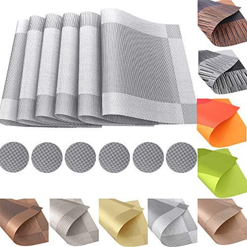 12er Set Platzsets Untersetzer Platzdeckchen Rutschfest Abwaschbar Tischmatten aus PVC Hitzebeständig Tischsets Schmutzabweisend (PVC-Silber)