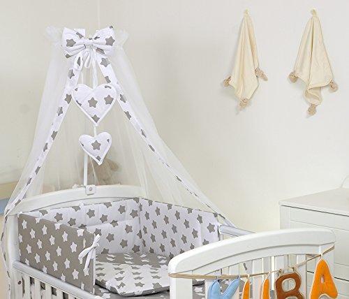 Pro Cosmo 10 Piezas Juego de Ropa de Cama para Cuna 120 x 60 cm Bebé Edredón Dosel Protector Estrella Gris