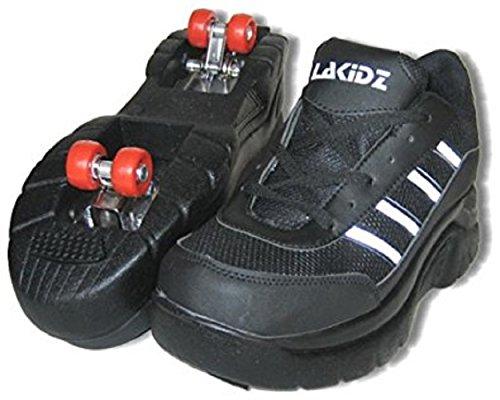 LA Kidz Double Retractable Lined 4 Wheels Roller Skates Sneakers Shoes for Boy's Girl's Kid's (13, Black)