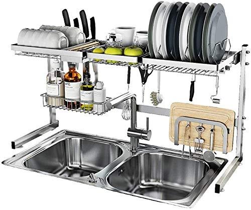 DJSMsnj Estante de almacenamiento de cocina, estante de secado de platos, escurridor de acero inoxidable, soporte para encimera, organizador de vajilla con soporte para utensilios de cocina