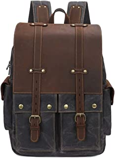 Neuleben Vintage Rucksack Leder Canvas Herren Damen Wanderrucksack Daypack 15 Zoll Laptopfach für Freizeit Arbeit Reise Outdoor Universität Dunkelgrau