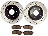 Atmansta QPD10001 Front Brake kit with Slotted/Drilled Rotors and Ceramic Pads for...