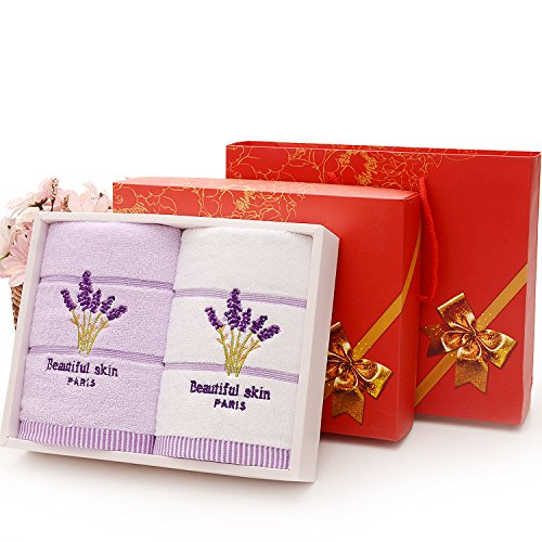 ZHFC le coton serviette groupe achat company business anniversaire lune anniversaire mariage return don 34cm ensemble 2 75 *,lavande