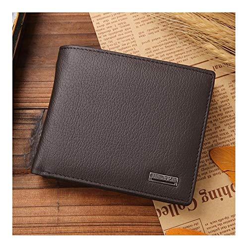 Lczhouou Luxuriöse 100% Leder Brieftasche Art und Weisemappe der Männer beiläufige Kurz Falttüren mit festen Kern Tasche Portemonnaie männlich Kaffee (Color : D-1)