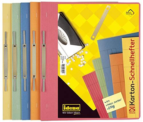 Idena 307035 - Kartonschnellhefter für DIN A4, 250 g/m², 5-fach farbig sortiert, 25 Stück