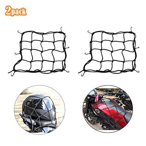 YGSAT 2 Stück Gepäcknetz Motorrad 30X30cm Fahrrad Netz Helmnetz mit 6 Haken Spannnetz Helmnetz Spannnetz Elastisch für Motorrad Fahrrad für Befestigung Helm Gepäcktasche