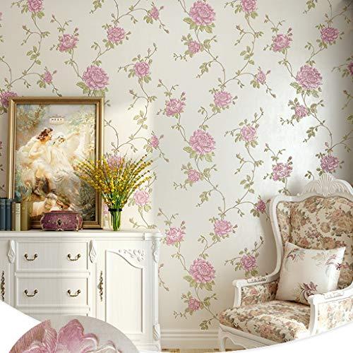 LYC behanglijm 3D bloemenpatroon behang reliëf warm landelijk niet geweven voor de woonkamer TV achtergrond muur slaapkamer bed decoratie 10 Mx 0,53 M BZ0903