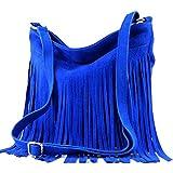 modamoda de - ital Schultertasche Fransen Wildleder T125, T145 Royalblau, siehe Beschreibung