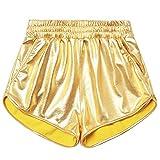 Girls Gold Metallic Gymnastics Shorts Rave Spandex Dance Shorts Shiny Hot Pants