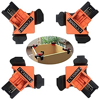 C CASIMR 90 Degree Corner Clamp 4PCS Adjustable Single Handle Spring Loaded Right Angle Clamp,Swing Woodworking Clip Clamp Tool