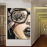 KWzEQ Mädchen Blumen Poster Leinwand Poster und Druckgrafik Wandkunst Bild Wohnzimmer Dekoration,Rahmenlose Malerei,45x67cm