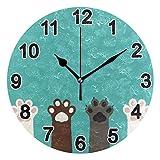 FULUHUAPIN Reloj de pared para baño con garras de gato para niña niño sin tictac, silencioso, fácil de leer para decoración de dormitorio 22.5 cm, reloj redondo 20300855