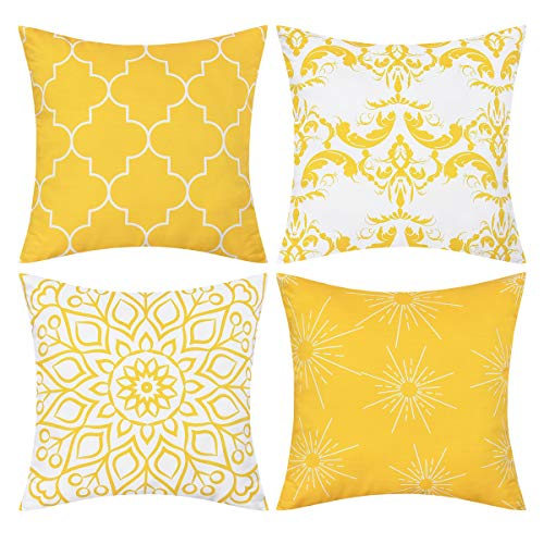 Fascidorm Set of 4 Throw Pillow Covers Modern Decorative Throw Pillow Case Morocco Pattern Pillow Covers Cushion Case for Room Bedroom Room Sofa Chair Car, Yellow, 18 x 18 Inch