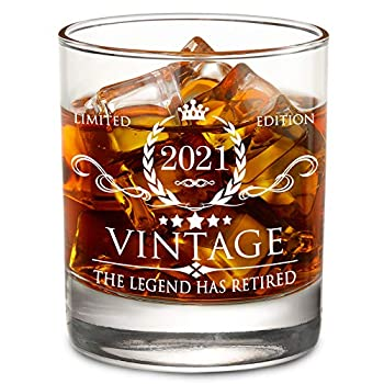 The Legend Has Retired 2021- Limited Edition Retirement Gifts for Men Women – Happy Funny Retirement Gag Gifts Idea for Coworkers Friends Him/Her - 11 oz Bourbon Scotch Whiskey Glass